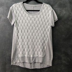 OLIVIA MOON | Gray & White Lace Front T-shirt Sz S
